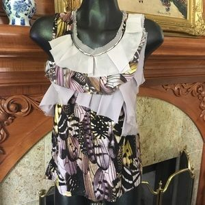 Anthropologie Tops - Lavender One September Ruffle Feather Print Top